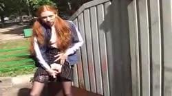 Amateur Pigtail Redhead Teen Dildos in Public Park